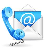телефонна слушалка и писмо с '@' написана на него символизиращи възможността за контакт с редактора на нашият сайт за секс феромони и привличащи парфюми.