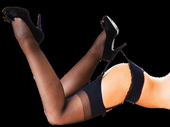 долница и крака на секси жена облечени в еротично бельо, рекламираща феромонни парфюми.