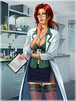 Анимирано секси момиче учен, експериментиращо с феромони и феромонни миризми и парфюми за привличане в лабораторията си.